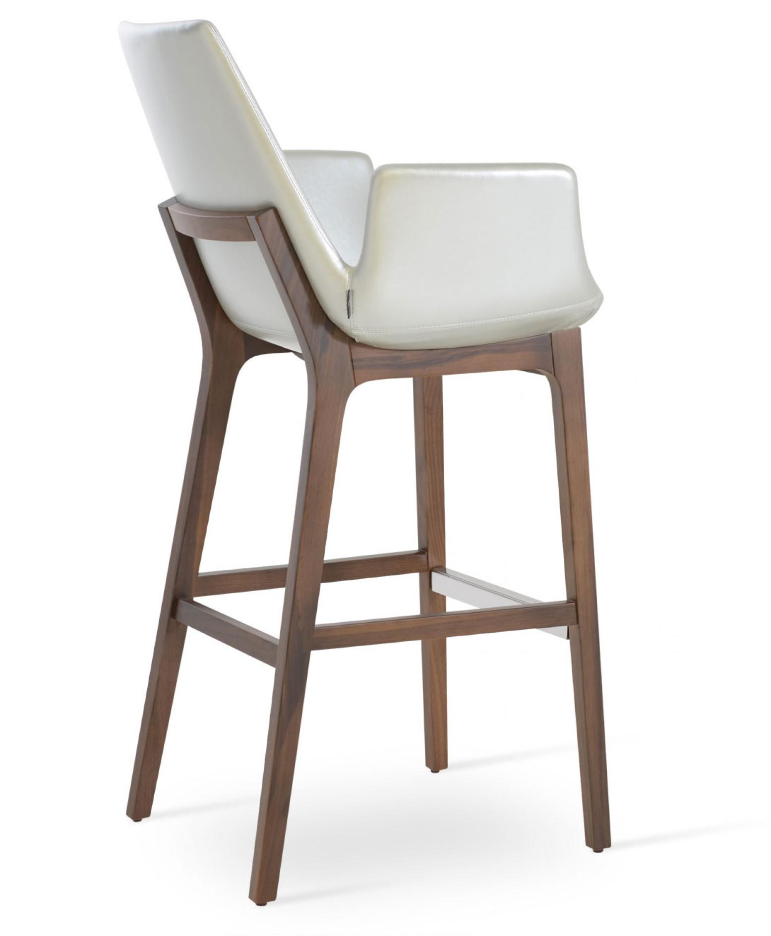 Pleasing Eiffel Arm Wood Counter Stool American Walnut Silver Ppm Inzonedesignstudio Interior Chair Design Inzonedesignstudiocom