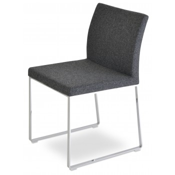 Aria Sled Dininng Chair, Dark Grey Camira Wool by SohoConcept Furniture