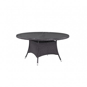 "Convene 59"" Round Outdoor Patio Glass Top Dining Table, Espresso by Modway"