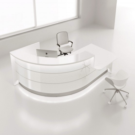 Valde LAV871L Reception Desk, High Gloss White photo