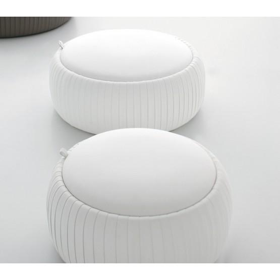 Plisse Small Pouf, White Eco-Leather photo