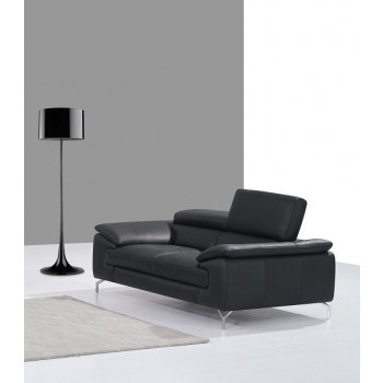 A973 Italian Leather Loveseat, Black by J&M Furniture