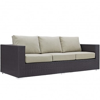 Convene Outdoor Patio Sofa, Espresso, Beige by Modway