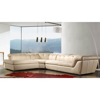 397 Italian Leather Sectional, Left Arm Chaise Facing, Beige by J&M Furniture