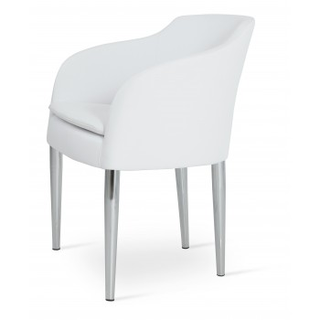 Buca Metal Armchair, White Leatherette by SohoConcept Furniture