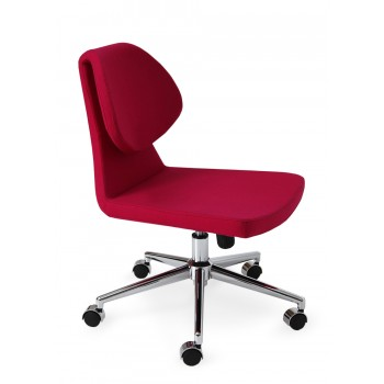 Gakko Office Chair, Chrome Base, Pink Wool by SohoConcept Furniture