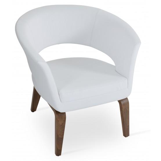 Ada Plywood Base Armchair, Walnut Finish, White PPM photo