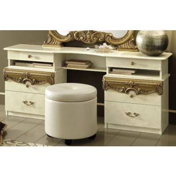 Barocco Vanity Dresser, Ivory + Gold