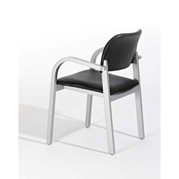 4308 Dining Chair, Grey Base, Black Upholstery