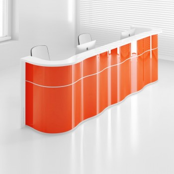 Wave LUV25 Reception Desk, High Gloss Orange