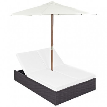 Convene Double Outdoor Patio Chaise With Umbrella, Espresso, White by Modway