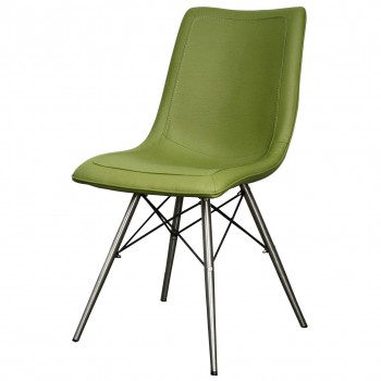 Blaine PU Chair, Stainless Steel Legs, Cactus, Set of 2 by NPD (New Pacific Direct)