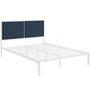 Della Full Fabric Bed, White Azure by Modway