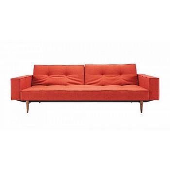 Splitback Sofa Bed w/Arms, 524 Mixed Dance Burned Orange Fabric + Dark Wood Legs