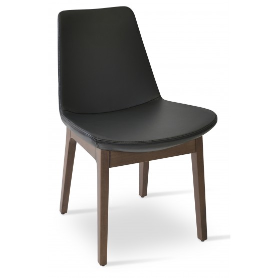 Eiffel Wood Chair, Solid Beech Walnut Color, Black Genuine Leather photo