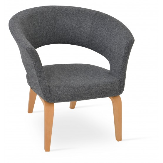 Ada Plywood Base Armchair, Natural Finish, Dark Grey Camira Wool photo