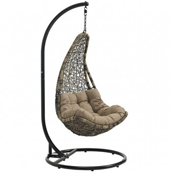 Abate Outdoor Patio Swing Chair With Stand, Gray, Mocha by Modway