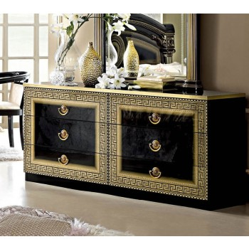 Aida Double Dresser, Black + Gold