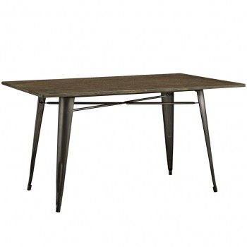 """Alacrity 59"""" Rectangle Wood Dining Table, Brown by Modway"""