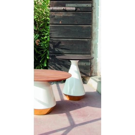 Amira Side Table, Glossy White and Gold Ceramic Base, Heat-Treated Dark Oak Wood Top photo