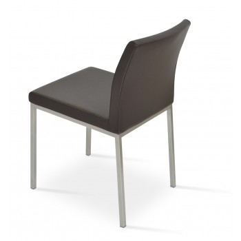 Aria Dininng Chair, Stainless Steel Base, Brown Genuine Leather by SohoConcept Furniture