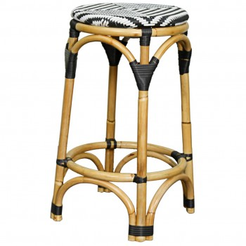 Adeline Backless Bistro Bar Stool, Black/White by NPD (New Pacific Direct)
