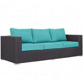 Convene Outdoor Patio Sofa, Espresso, Turquoise by Modway