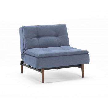 Dublexo Chair, 558 Soft Indigo Fabric + Dark Wood Legs