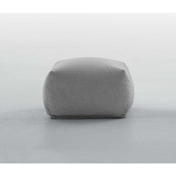 Truly Small Pouf, Grey Pied De Poule Fabric