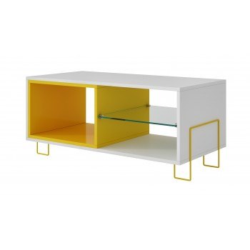 Boden TV Stand, White + Yellow