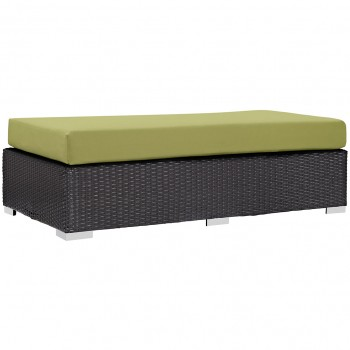 Convene Outdoor Patio Fabric Rectangle Ottoman, Espresso, Peridot by Modway