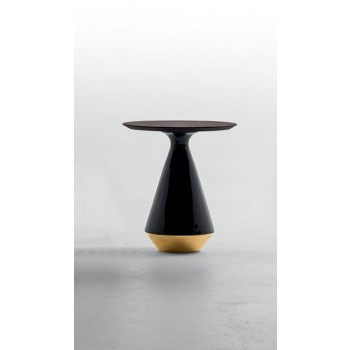 Amira Side Table, Glossy Black and Gold Ceramic Base, Heat-Treated Dark Oak Wood Top