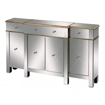 Bordeaux Buffet Server In Clear Mirror And Champagne Silver Leaf