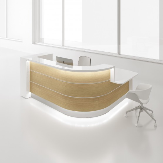 Valde LAV1581L Reception Desk, Canadian Oak photo