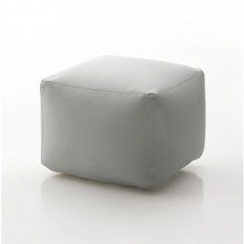 Truly Small Pouf, Light Grey Eco-Leather