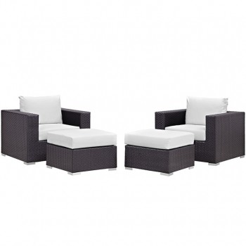 Convene 4 Piece Outdoor Patio Sectional Set, Espresso, White by Modway