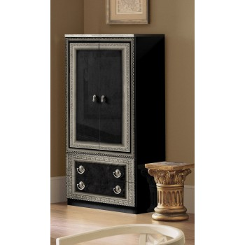 Aida 2-Door Wardrobe, Black + Silver