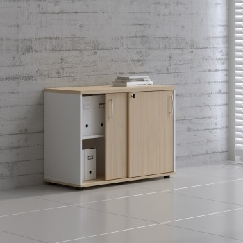 Sliding Doors Storage Unit A2P05, White + Beech