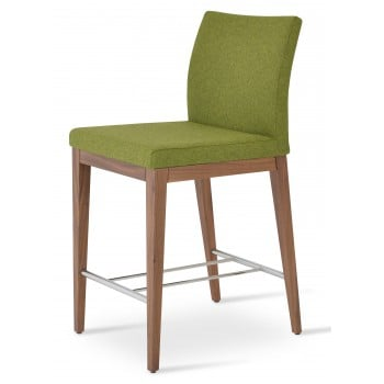 Aria Wood Bar Stool, Solid Beech Walnut Color, Forest Green Camira Wool by SohoConcept Furniture
