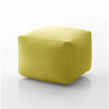 Truly Small Pouf, Mustard Yellow Eco-Leather