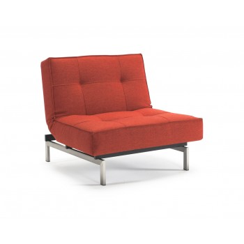 Splitback Chair, 524 Mixed Dance Burned Orange Fabric + Stainless Steel Legs