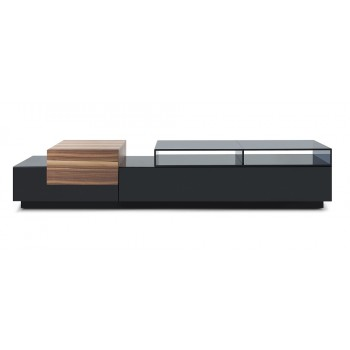072 TV Stand, Black High Gloss + Walnut