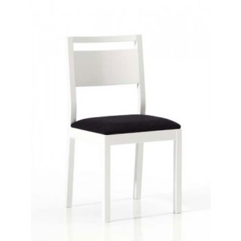 4450 Dining Chair, White Base, Black Upholstery