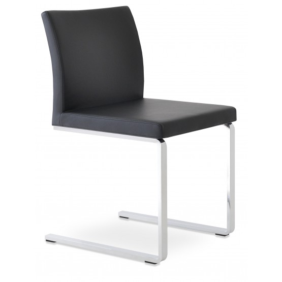 Aria Flat Dining Chair, Black Leatherette photo