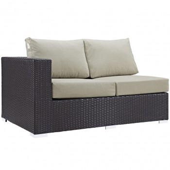 Convene Outdoor Patio Left Arm Loveseat, Espresso, Beige by Modway