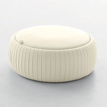 Plisse Medium Pouf, Havana White Eco-Leather