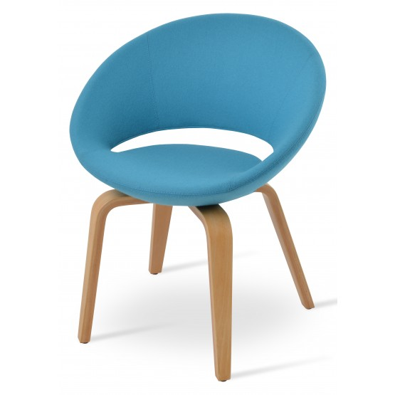 Crescent Plywood Chair, Natural Finish, Turquoise Camira Wool, Large Seat photo