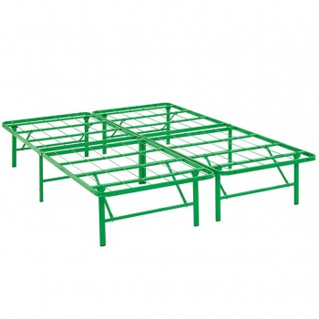 Horizon Full Stainless Steel Bed Frame, Green by Modway