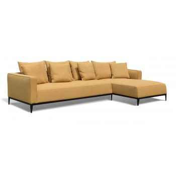 California Sectional, Large, Right Arm Chaise, Black Base, Mustard Camira Wool by SohoConcept Furniture