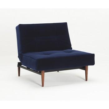 Splitback Chair, 865 Vintage Velvet Blue + Dark Wood Legs